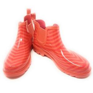 Women's Rubber Ankle Rain Boots, #3167, Orange-Red